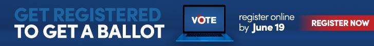 Register to Vote by June 19 2020 blue background