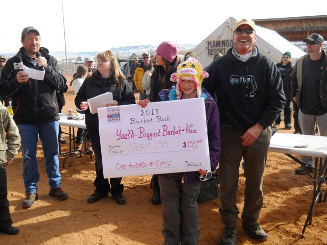 Photo of the winner of the Youth Division's Largest Burbot during the 2013 Burbot Bash