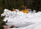 Plowing snow to open the road to Spirit Lake