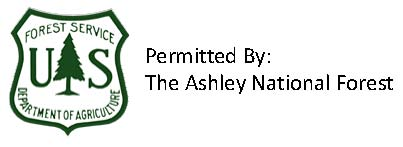 U.S. Forest Service Shield and statement Permitted by Ashley National Forest