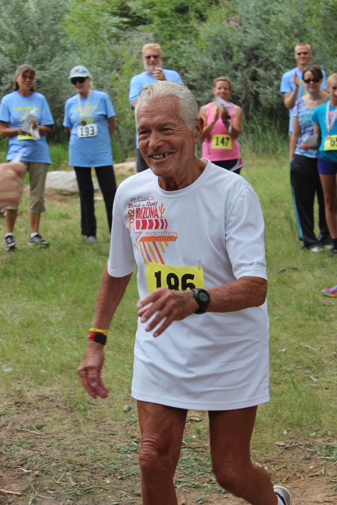 Photo of Currie Harlacher Winner of the 70+ category of the 2013 Tower Rock Run